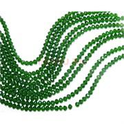 Нитка бусин из зеленого прозрачного стекла хрусталь 4 мм длина 40 см