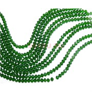 Нитка бусин из зеленого прозрачного стекла хрусталь 6 мм длина 40 см