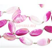 Нитка бусин 9 шт из розового агата овальные длина 40 см