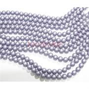 Нитка бусин 8 мм из майорки фиолетовой матовой круглой длина 40 см