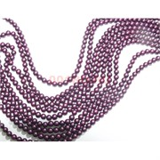 Нитка бусин 6 мм из майорки темно-фиолетовой матовой круглой длина 40 см