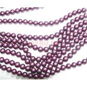 Нитка бусин 12 мм из майорки темно-фиолетовой матовой круглой длина 40 см