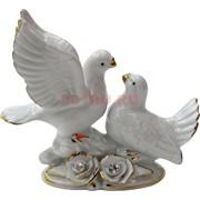 Два голубя с розами (NS-150N) белый фарфор стразы