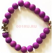 Браслет фиолетовый 8 мм с крестом