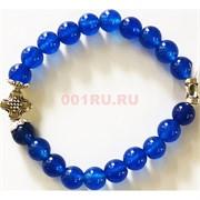 Браслет кварц синий прозрачный 8 мм с крестом