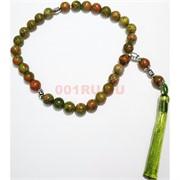 Четки с крестом зеленая яшма 10 мм 30 бусин (натуральный камень)