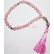 Четки с крестом розовый кварц 10 мм 30 бусин (натуральный камень)