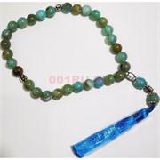 Четки с крестом голубая яшма 10 мм 30 бусин (натуральный камень)