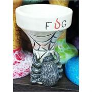Чашка белая глина «FUG паук» кальянная