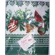 Скатерть из льна 120x150 см новогодняя