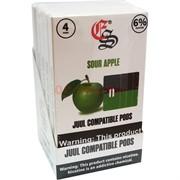Картриджи Juul совместимые Sour Apple (зеленое яблоко) цена за 4 шт