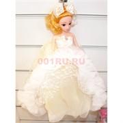 Кукла подвеска брелок в белом платье с бантиком 4 шт/уп