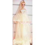 Кукла подвеска брелок в свадебном платье с фатой 4 шт/уп