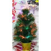 Елка зеленая со звездой украшенная 60 см