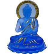 Будда статуэтка прозрачная (NS-869) синяя 10 см высота
