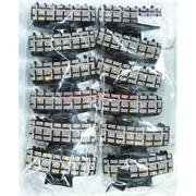 Крабики цветные прямоугольные со стразами (E-107) для волос 12 шт/уп