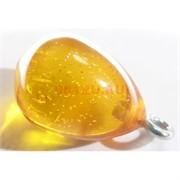 Подвеска кулон из янтаря капля желтая 1,5 см
