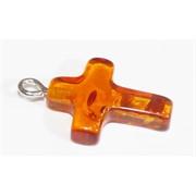 Подвеска кулон из янтаря оранжевая крест 2 см