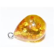 Подвеска кулон из янтаря капля желтая 2,3 см