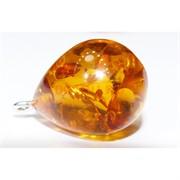 Подвеска кулон из янтаря капля светло-оранжевая 2,3 см