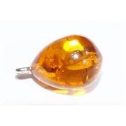 Подвеска кулон из янтаря капля темно-оранжевая 1,8 см