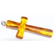 Подвеска кулон из янтаря крест оранжевая 4,2 см