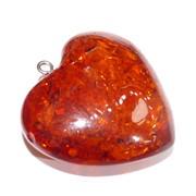 Подвеска кулон из янтаря сердце оранжевое 3 см