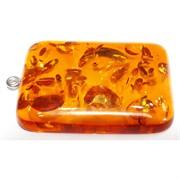 Подвеска кулон из янтаря прямоугольная 3,8 см оранжевая