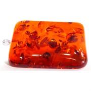 Подвеска кулон из янтаря прямоугольная 3,8 см темно-оранжевая