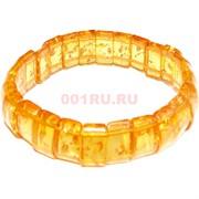 Браслет из янтаря прямоугольный светло-оранжевый