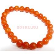 Браслет 8 мм из янтаря 25 шт оранжевый