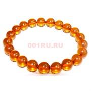 Браслет 10 мм из янтаря 20 шт оранжевый