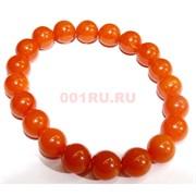 Браслет 10 мм из янтаря 20 шт темно-оранжевый