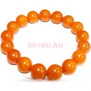 Браслет 14 мм из янтаря 17 шт оранжевый