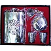 Набор подарочный складной стаканчик брелок + фляга нержавейка 9 унций + стаканчики