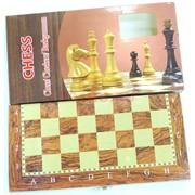 Шахматы шашки нарды деревянные 12x12 см