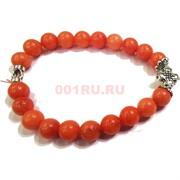 Браслет с крестом 8 мм халцедон оранжевый (натуральный камень)