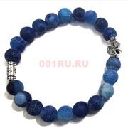 Браслет с крестом 8 мм матовый агат синий (натуральный камень)