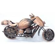 Фигурка металлическая мотоцикл под медь 11 см