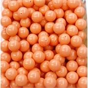 Бусины 10 мм из оранжевого коралла прессовка цена за 1 шт