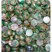 Кабошоны 15 мм круглые из зеленой мозаики