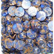 Кабошоны 20 мм круглые из синей мозаики