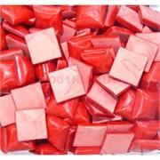 Кабошоны 14x14 квадратные из красного коралла с фактурной подошвой