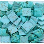 Кабошоны 14x14 квадратные из зеленой бирюзы