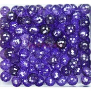 Бусины кабошоны граненые 10 мм из стекла фиолетовые