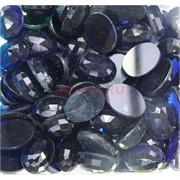 Кабошоны 13x18 из синего стекла граненые