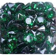 Кабошоны 15 мм «бриллиант» из зеленого стекла