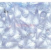 Кабошоны 10x20 граненые капли из белого стекла
