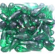 Кабошоны 10x20 граненые капли из зеленого стекла