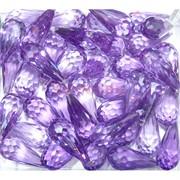 Кабошоны 10x20 граненые капли из фиолетового стекла
